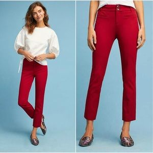Anthropologie The Essential Slim Trouser in Red